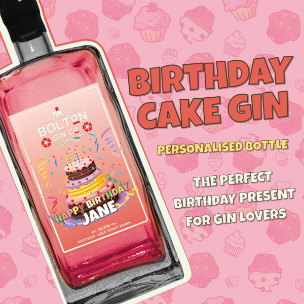 Birthday Cake Gin Personalised Bottle by The Bolton Gin Company